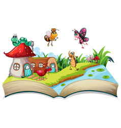 Insect on open book vector