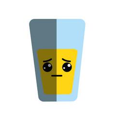 Kawaii cute sad juice glass vector