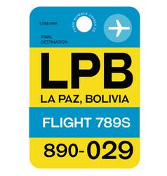 La paz airport luggage tag vector