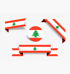 Lebanese flag stickers and labels vector