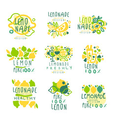 lemonade 100 percent pure lemon set for label vector image