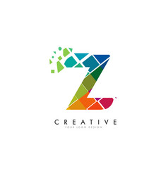 letter z design with rainbow shattered blocks vector image