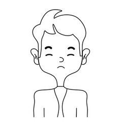 Line sleepy man with elegant clothes and hairstye vector