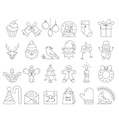 Linear collection of Christmas icons vector image