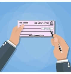 Man hands with pen writing check bank payments vector