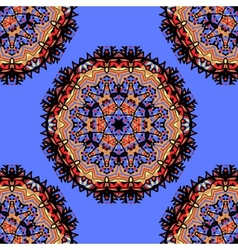 Mandala seamless in red color over blue background vector image