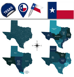 Map of texas with regions vector