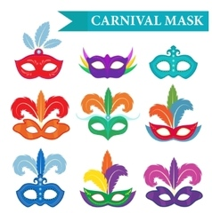 Masquerade mask set flat style Carnival vector image