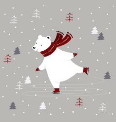 merry christmas card with polar bear ice skating vector image
