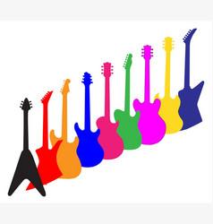 Modern guitar silhouettes vector