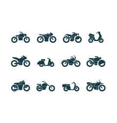 motorcycle silhouettes vehicle symbols motorbikes vector image