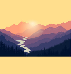 mountain landscape nature camping graphics vector image