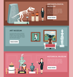 museum horizontal banners archaeological section vector image