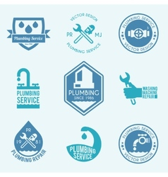 Plumbing labels icons set vector image