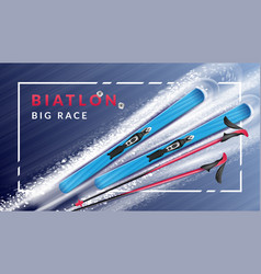realistic biathlon horizontal poster vector image