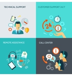 Remote Assistance And Technical Support Banners vector