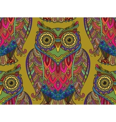Seamless pattern with a lot of beautiful owls vector