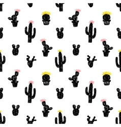 Seamless pattern with succulent cactus vector