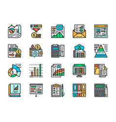 set accounting report flat color icons vector image