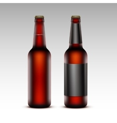 Set of Brown Bottles Red Beer with without labels vector image