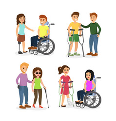 Set of disabled people vector