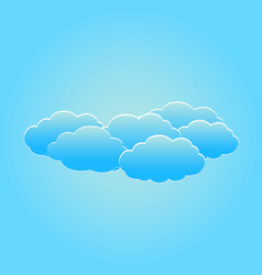 Set of fluffy white clouds on the light blue sky vector