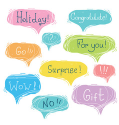 set speech bubbles with text vector image