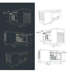 Silent diesel generator drawings vector
