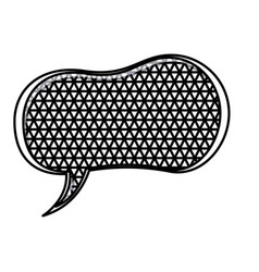Silhouette peanut speech shape and metal grid of vector