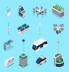 Smart city isometric icons set vector