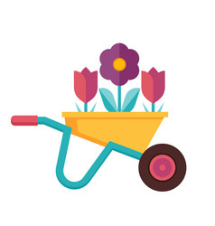 Spring garden wheelbarrow icon vector