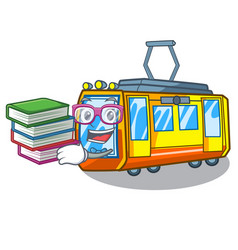 Student with book miniature electric train in vector
