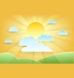 Summer sun and green meadows paper cut vector