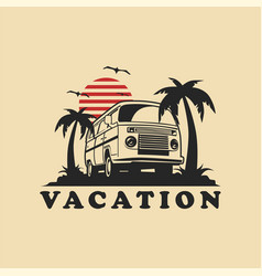 Summer vacation car logo template vector