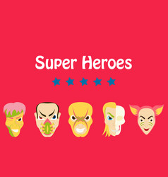 Superhero actions icon set in cartoon colored vector