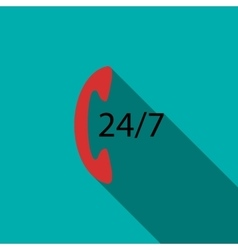 Support call center 24 hours icon flat style vector