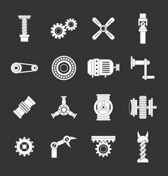 Techno mechanisms kit icons set grey vector