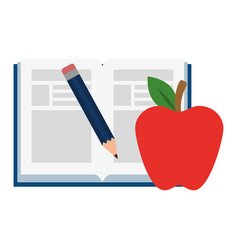 text book with pencil and apple vector image