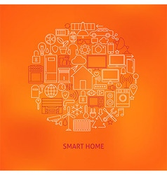 Thin Line Smart Home Icons Set Circle Concept vector image