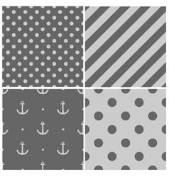 Tile sailor pattern set with grey polka dots vector