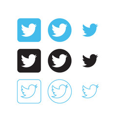 twitter social media icons vector image