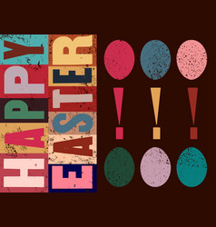 Typographical grunge easter greeting card vector