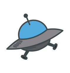 Ufo spaceship futurist symbol icon in cartoon vector