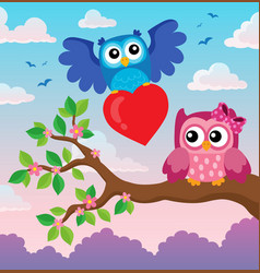 valentine owls theme image 3 vector image