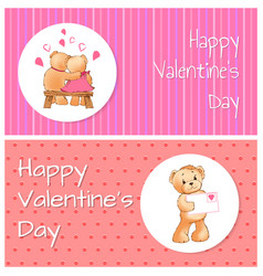 valentines day horizontal postcards with bears vector image