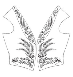 Vest is embroidered vintage engraving vector