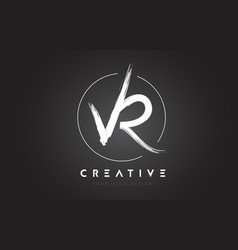 Vr brush letter logo design artistic handwritten vector
