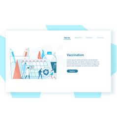 Web page template with tiny doctors or physicians vector