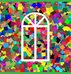 window simple sign white icon on colorful vector image