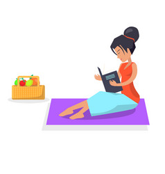 Woman on picnic with book and basket of fruits vector